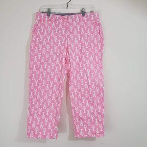 crown & ivy Lobster Print Capri Pants